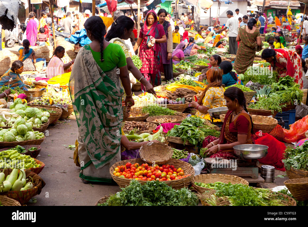 fruit and vegetable market, Udaipur, Rajasthan, india - Stock Image