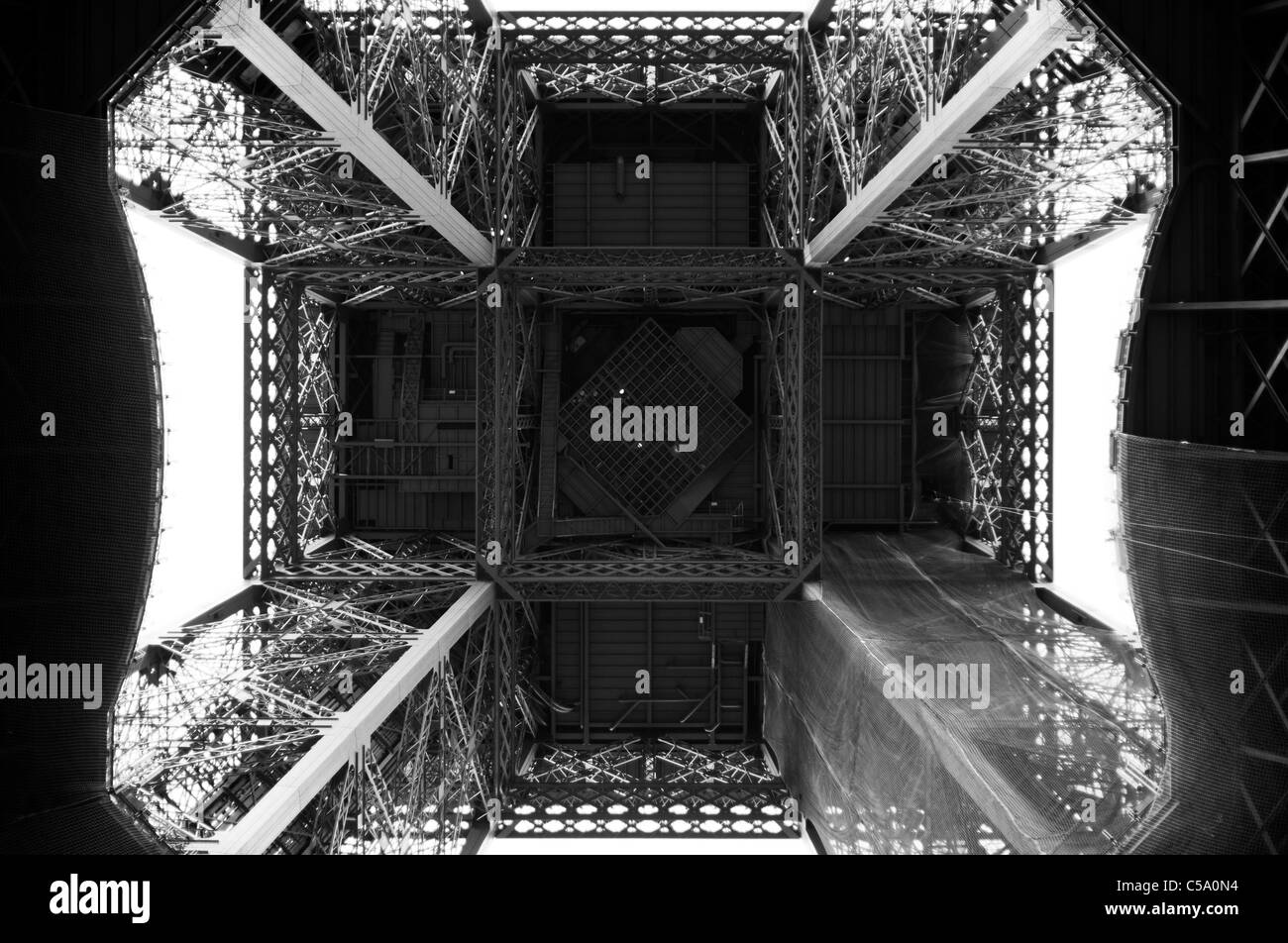 Tour Eiffel from below. Paris. France - Stock Image