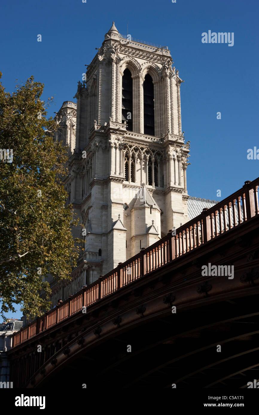 Pont au Double over the river Seine next to Notre Dame. Paris. France. - Stock Image