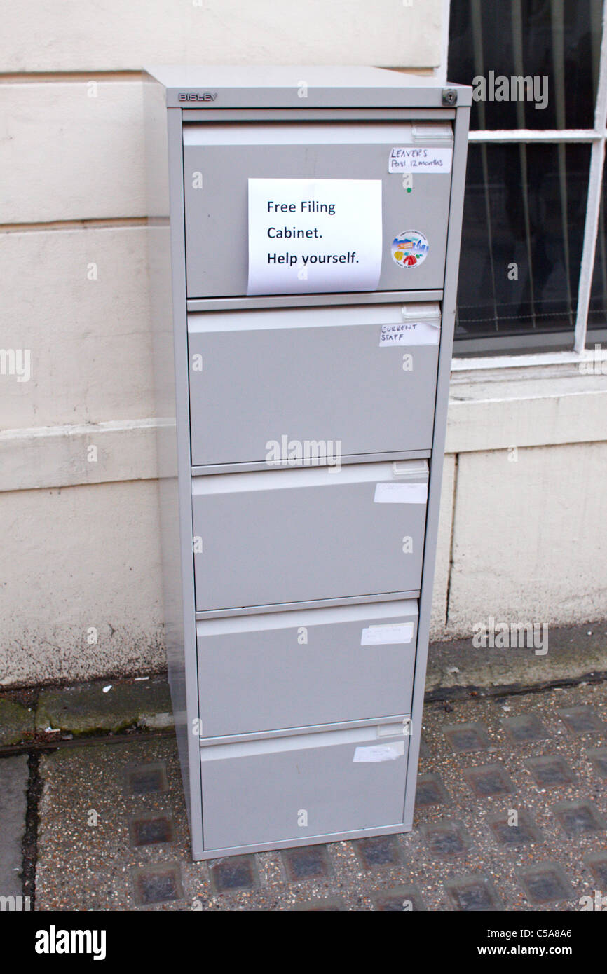 Filing cabinet being given away for free - Stock Image