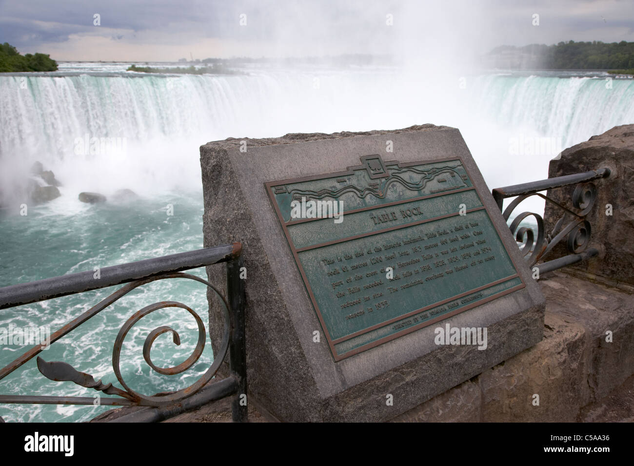 table rock plaque in front of the horseshoe falls niagara falls ontario canada - Stock Image
