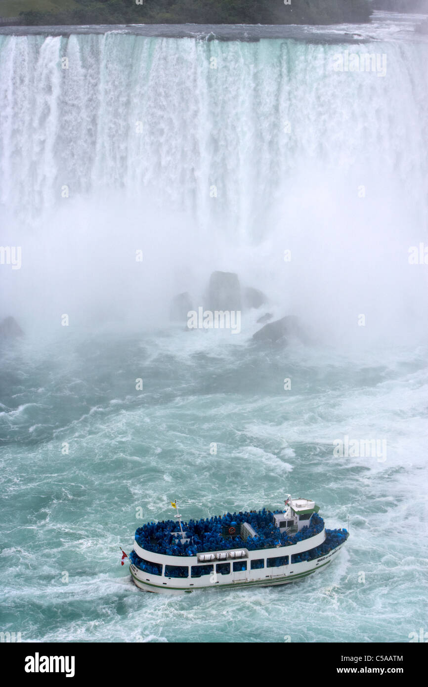 maid of the mist boat below the american falls niagara falls ontario canada - Stock Image