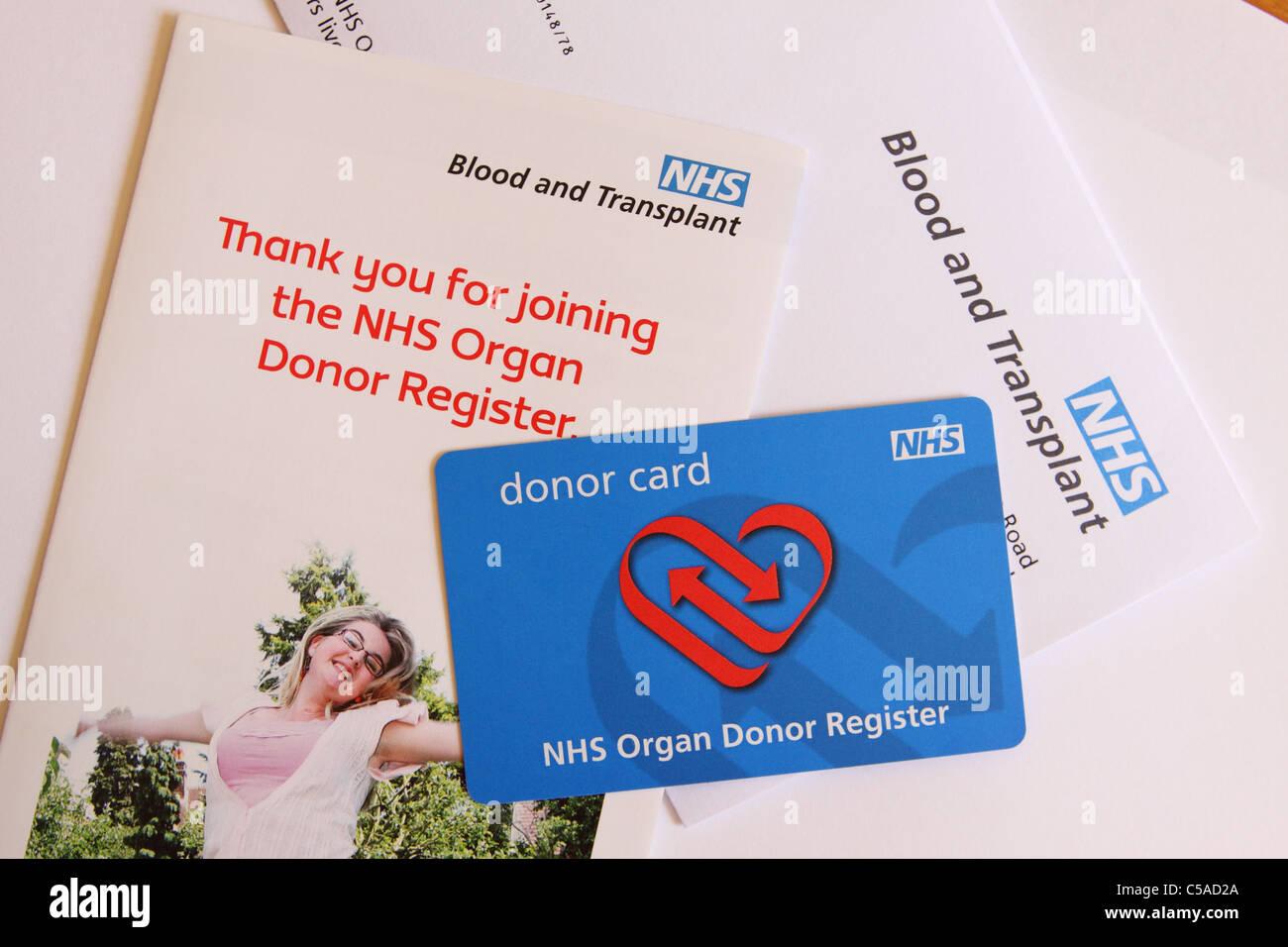 NHS Organ Donor Card - Stock Image