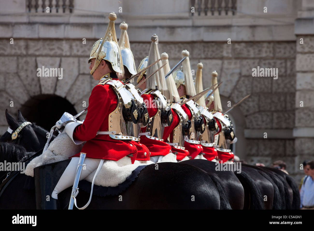 The Queen's Life Guard or Horse Guard Changing ceremony in London, UK on June 14, 2011. Stock Photo