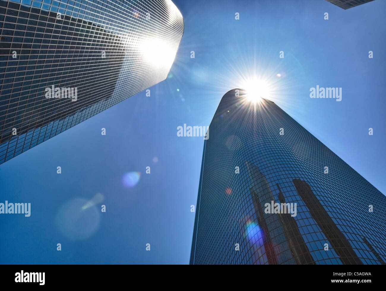 Downtown Los Angeles Sky Scrapper with a sun flare. - Stock Image