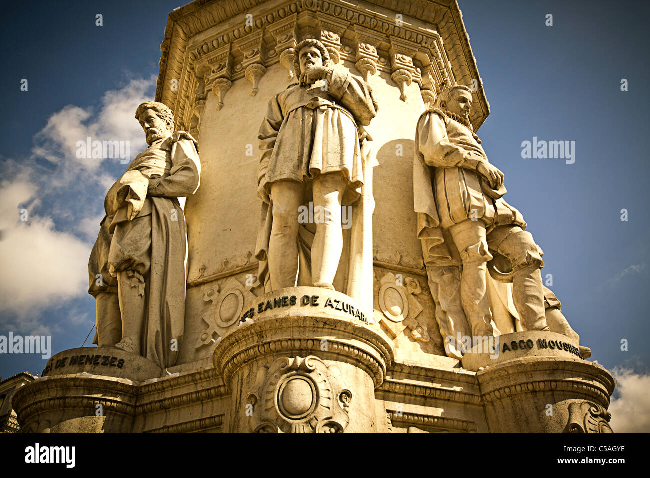 Epic Poets Statue in Praca de Camoes, Lisbon, Portugal - Stock Image