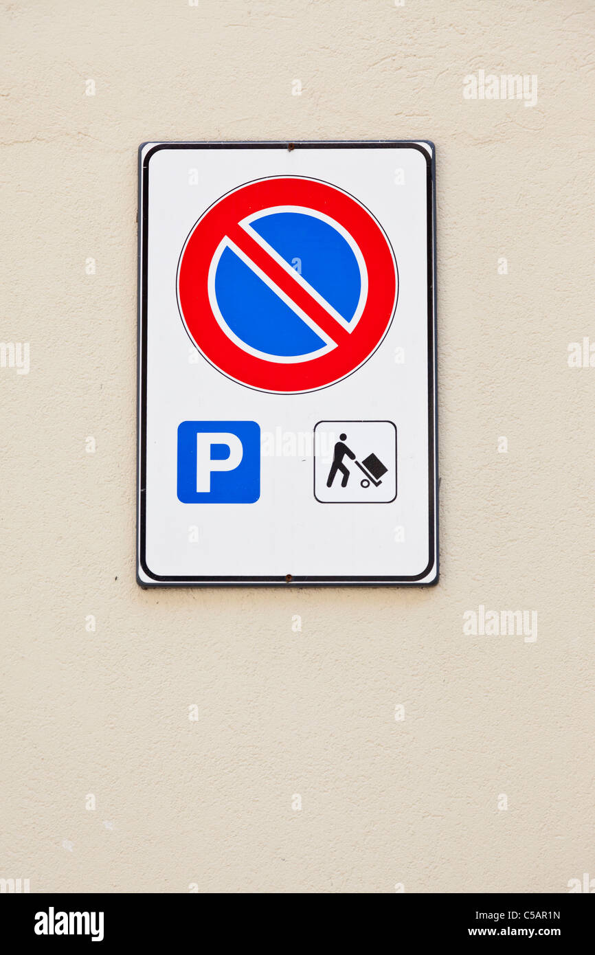 No parking sign, Italy - Stock Image