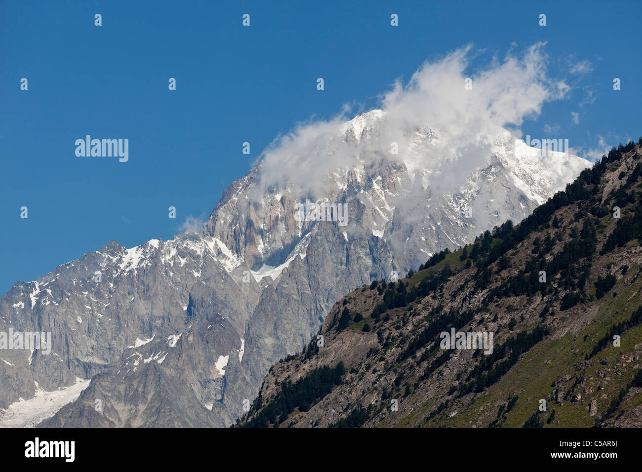 Monte Bianco, or Mont Blanc: summit seen from the Italian side - Stock Image