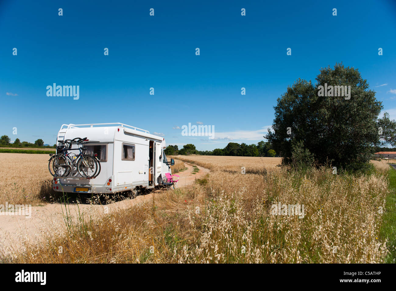 camper or mobil home in free nature - Stock Image