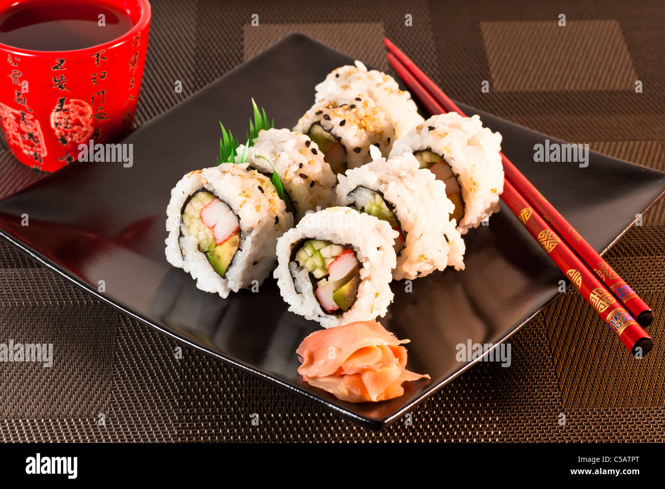 A selection of California Sushi Rolls. - Stock Image