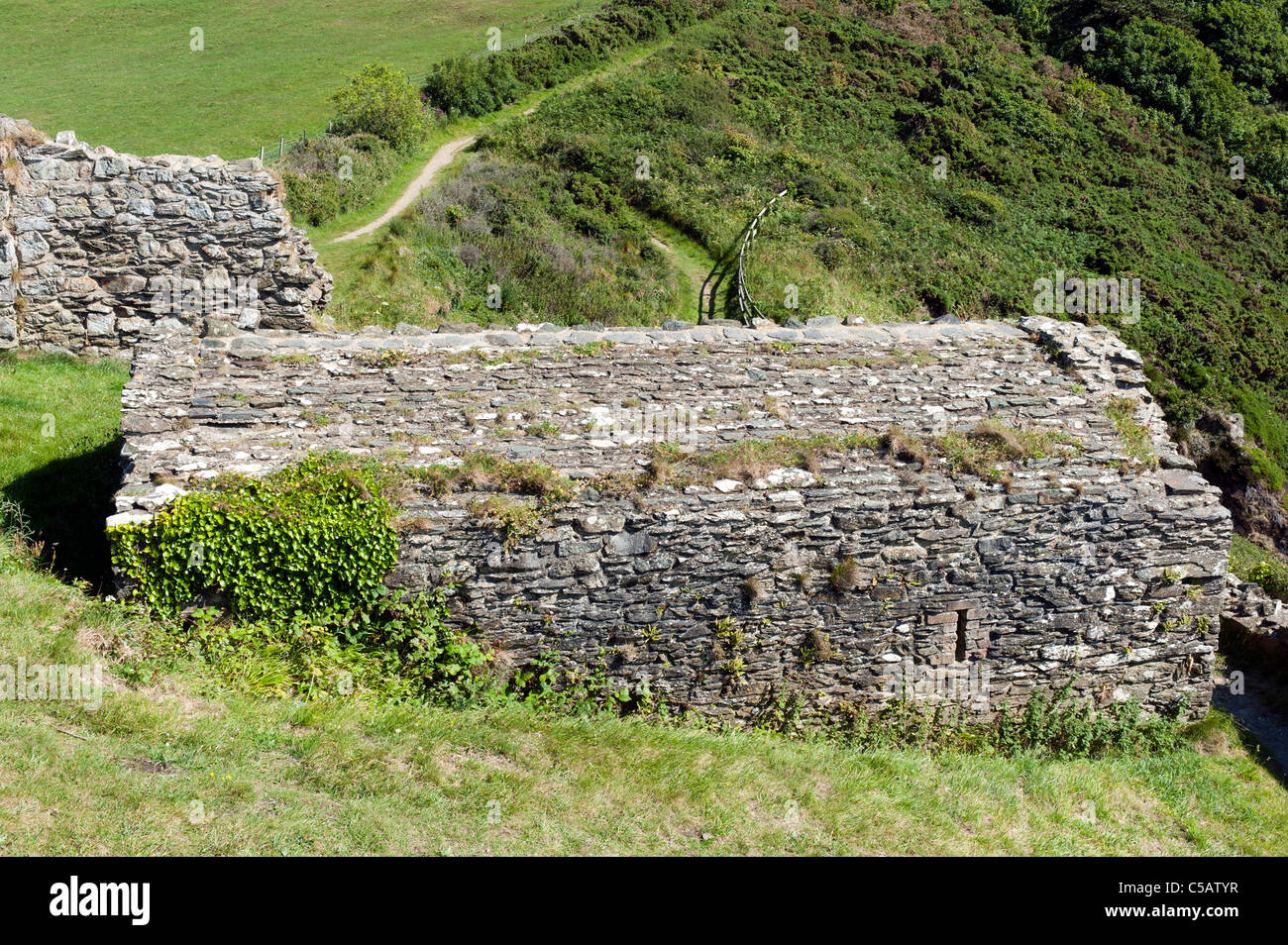 Disused stone building forming part of Fishguard Fort, defending the Lower Town Harbour, built in 1780. - Stock Image
