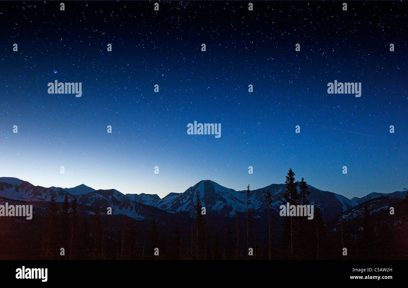 Star filled sky from Monarch Pass, Sawatch Range, Chaffee County, Colorado, USA. - Stock Image