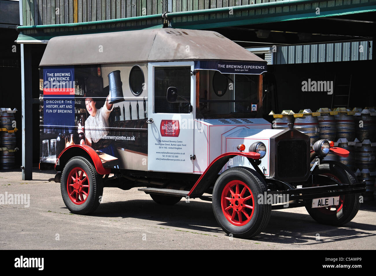 Vintage delivery van, The National Brewery Centre, Horninglow Street, Burton upon Trent, Staffordshire, England, - Stock Image