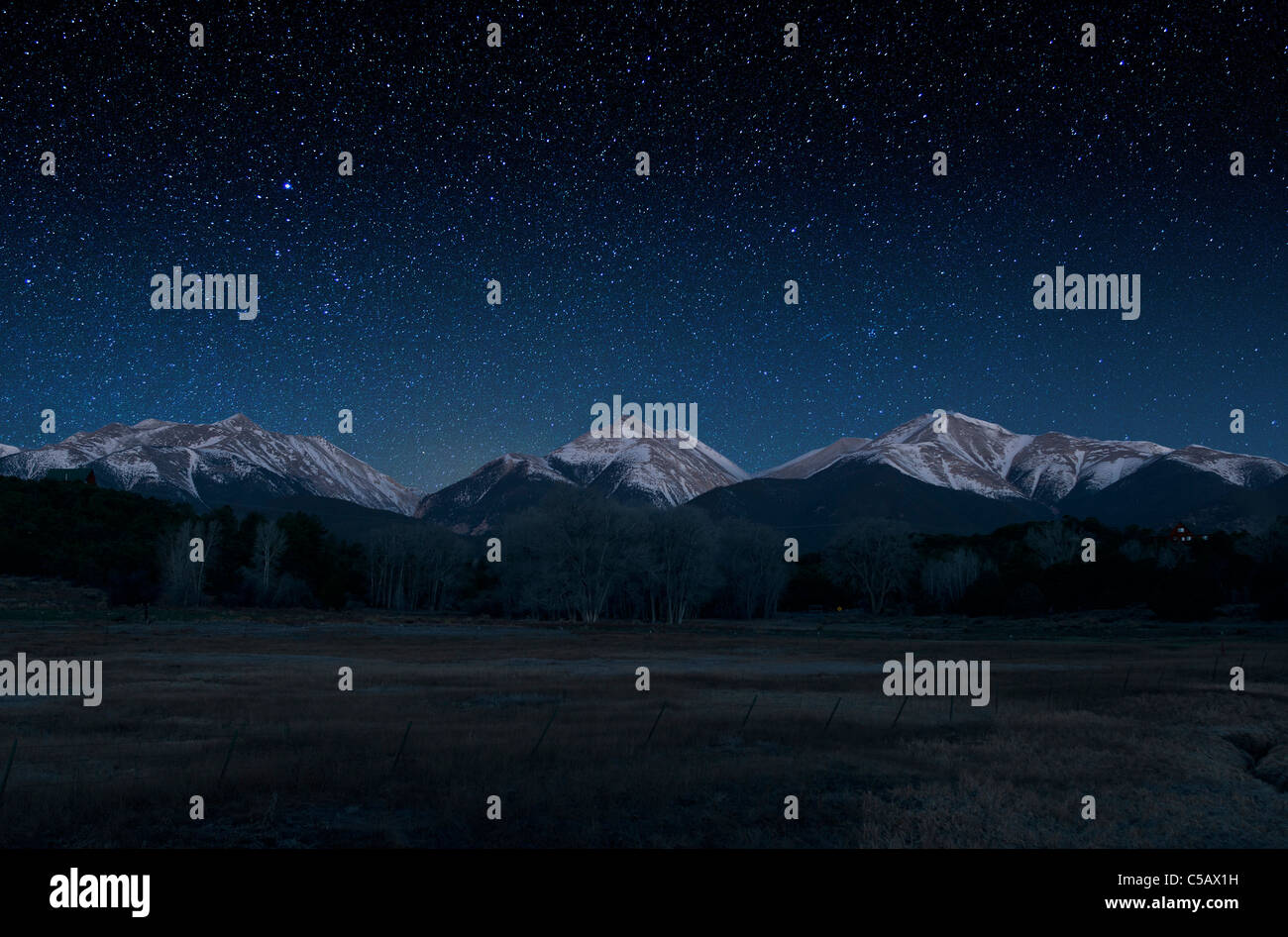 Star filled sky of the Collegiate Peaks, Sawatch Range, Chaffee County, Colorado, USA - Stock Image