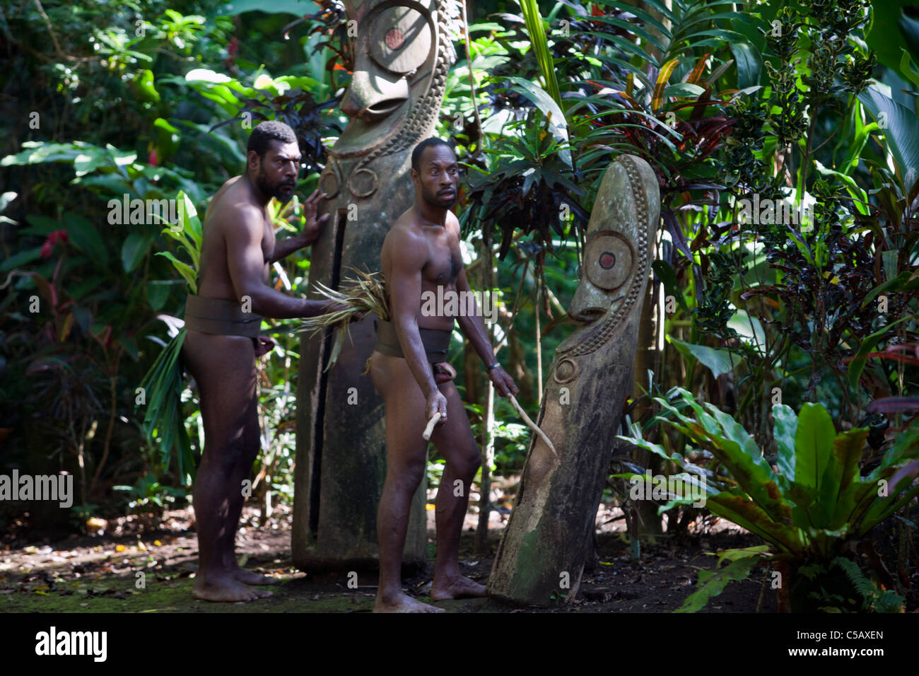 Local ceremonies performed by the indigenous people of Vanuatu - Stock Image