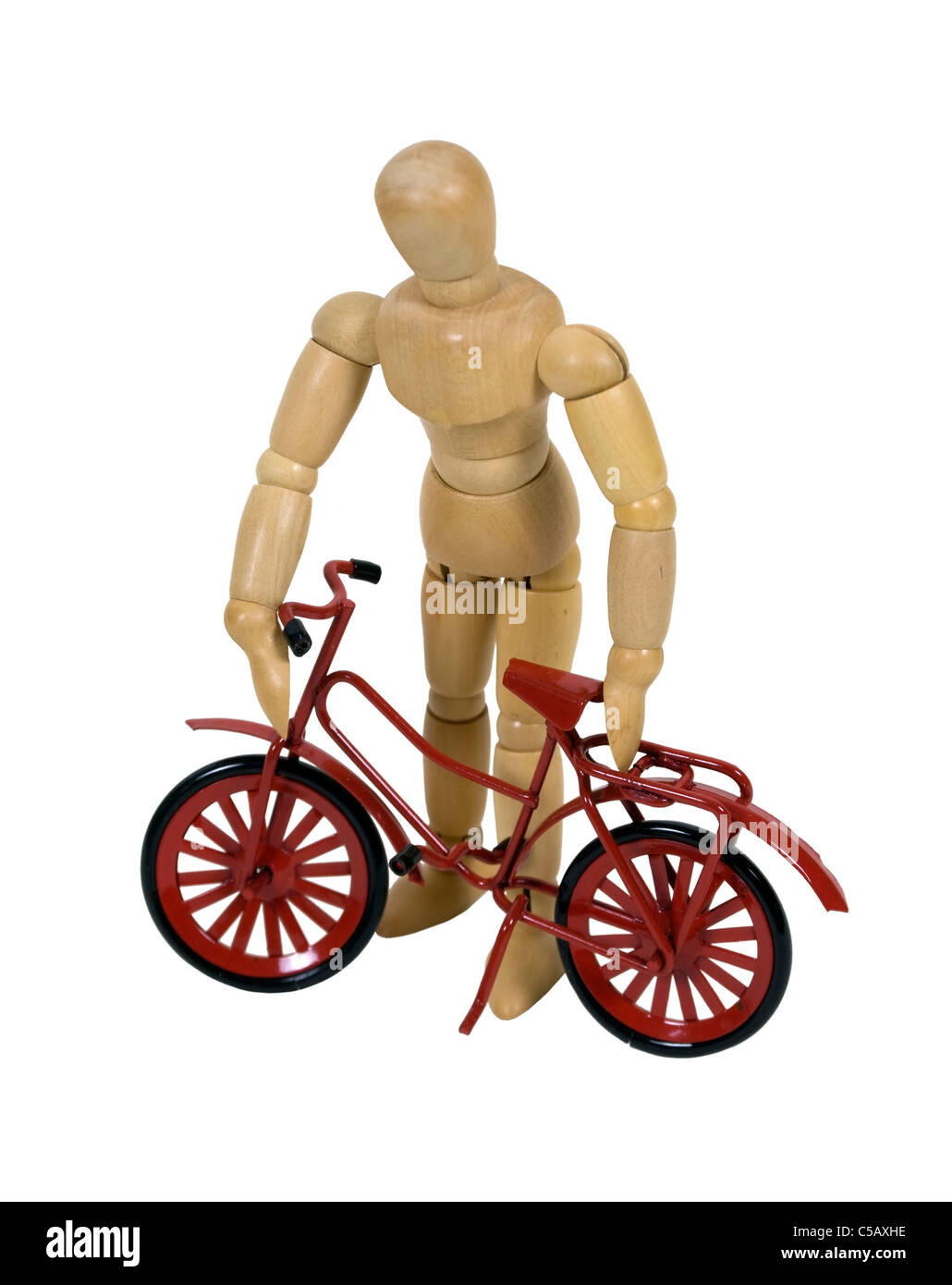 Model holding a new red bicycle which is ready to be ridden - path included - Stock Image