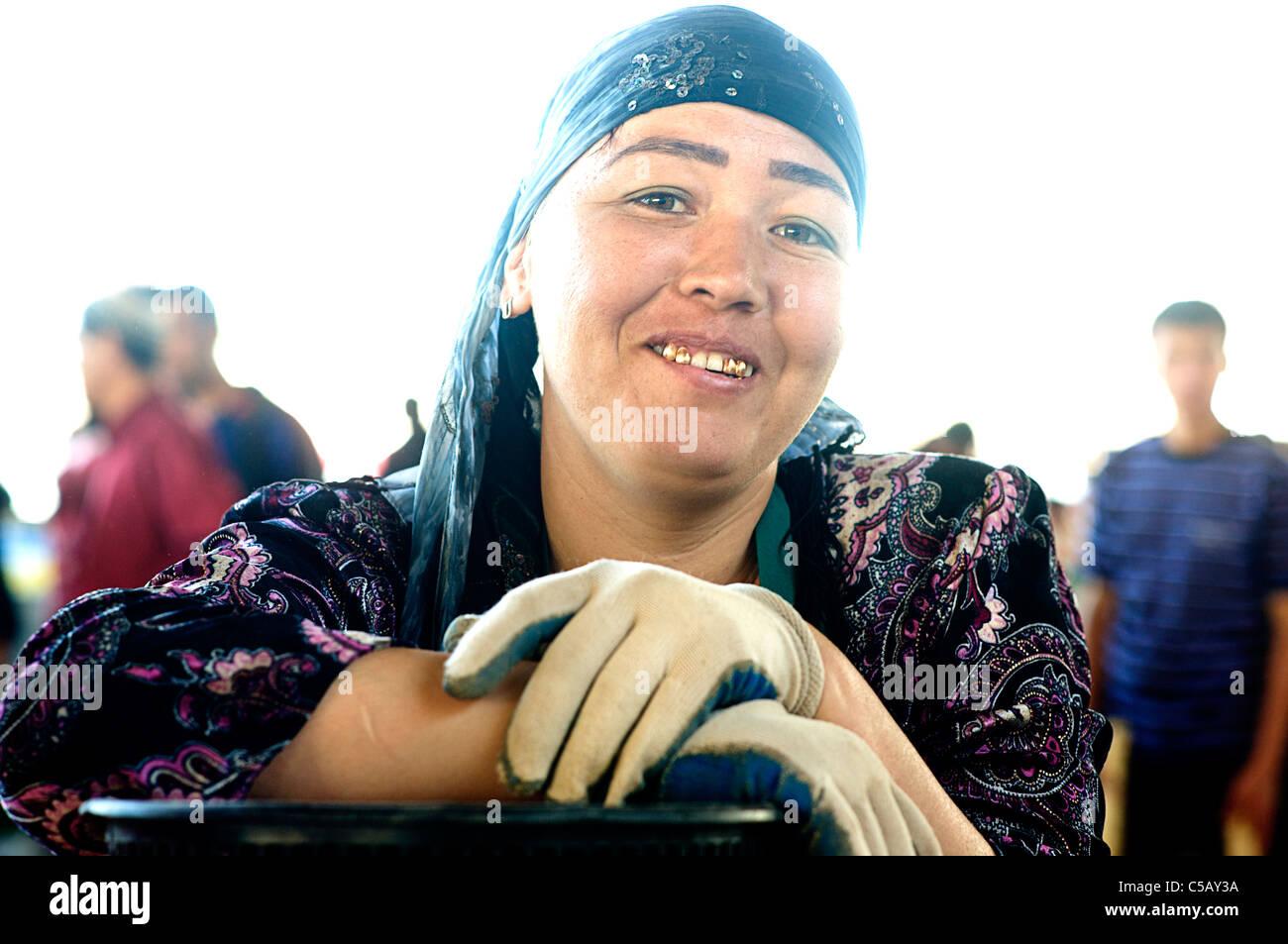 Market vendor. Samarkand, Uzbekistan.  Model Released - Stock Image