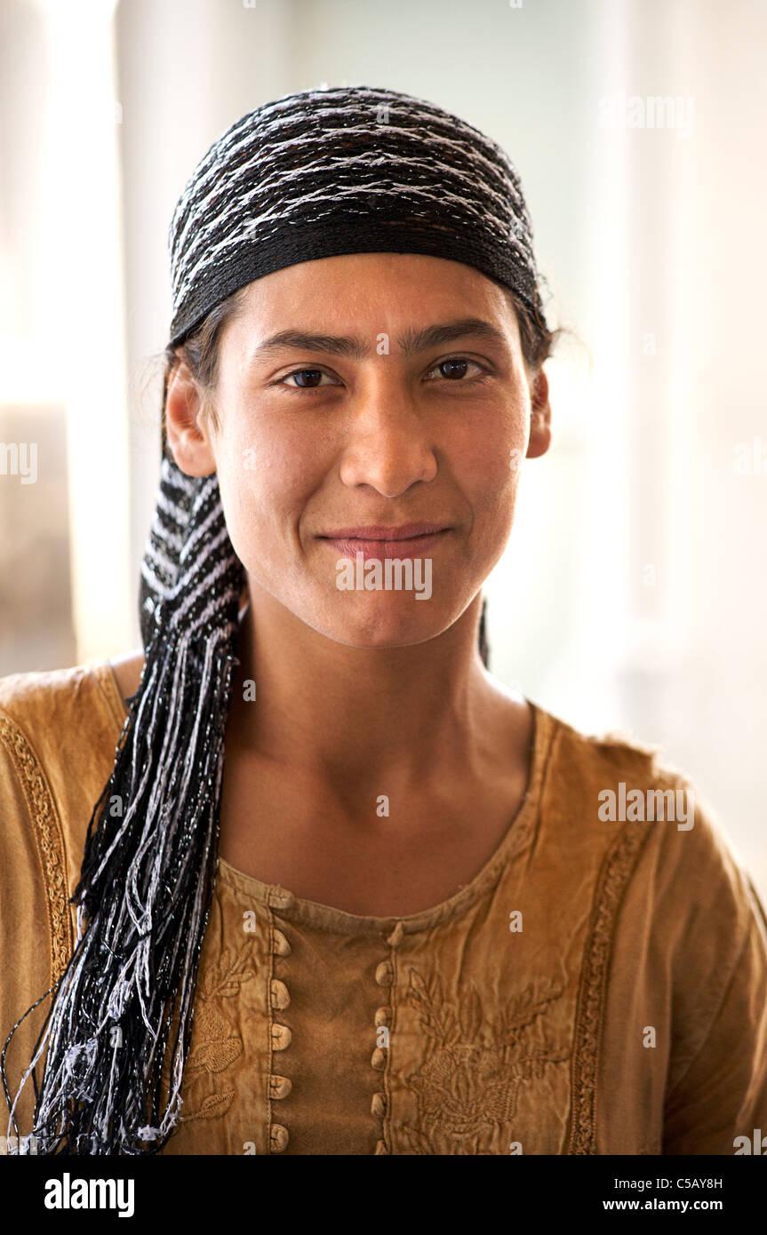Portrait of a Romany woman, Samarkand, Uzbekistan - Stock Image