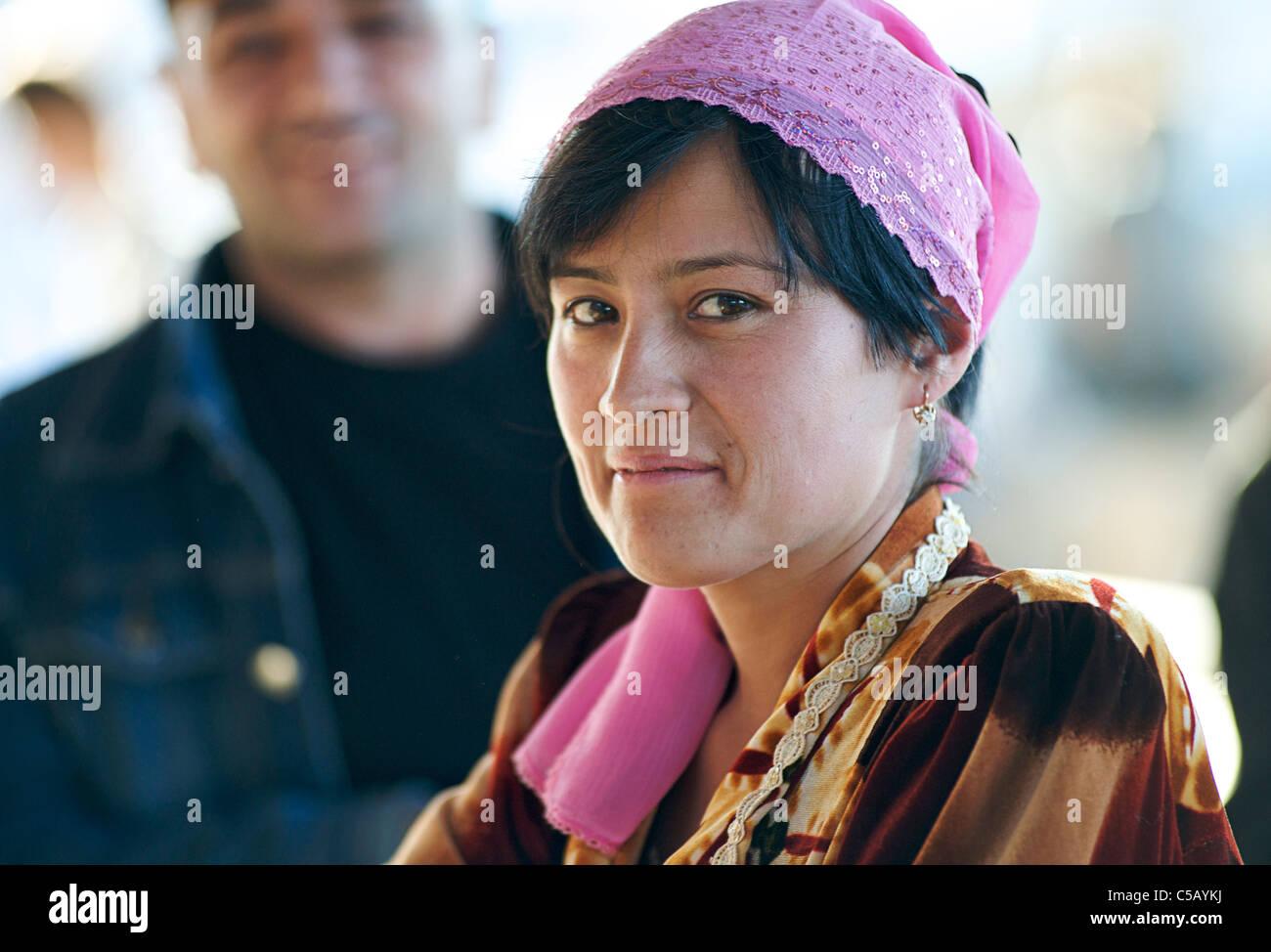 Portrait of Uzbeki market vendor Samarkand, Uzbekistan - Stock Image