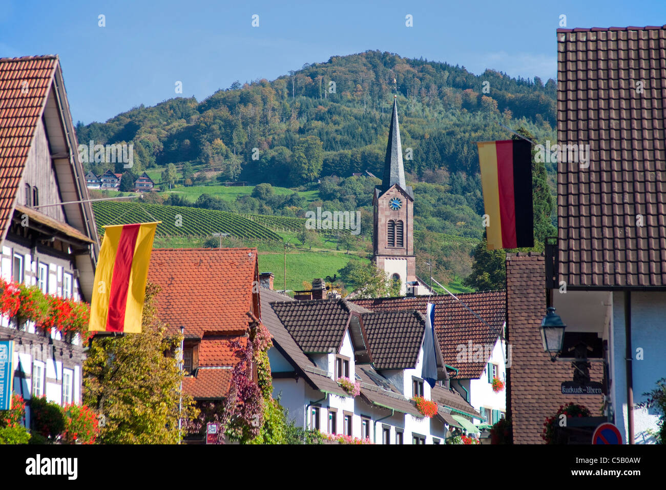 Dorfansicht Sasbachwalden, Schwarzwald, Village view, church in Sasbachwalden, Black Forest - Stock Image