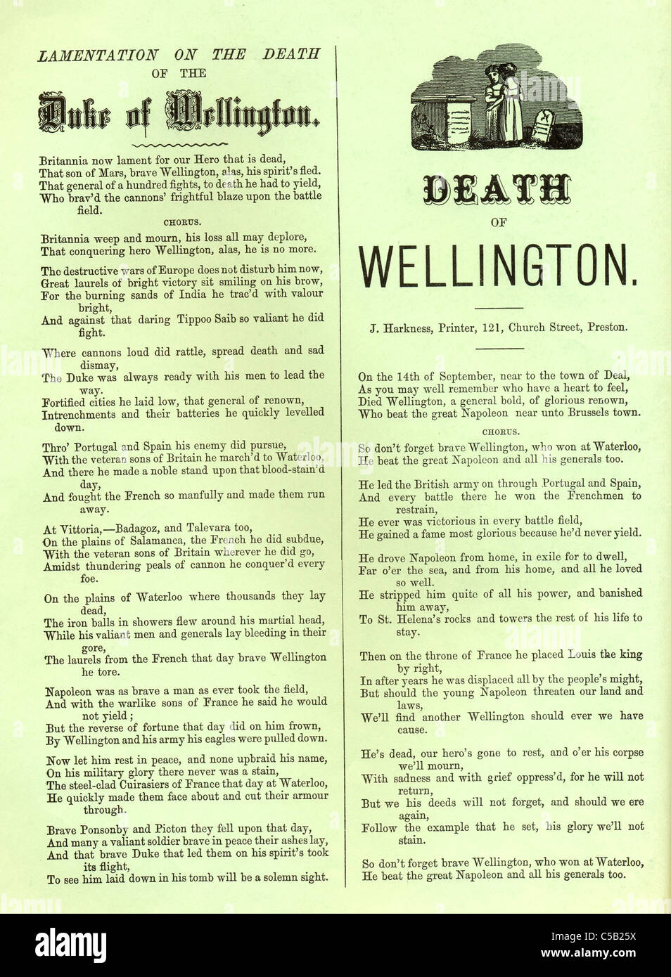 Broadside lamenting the Death of Wellington 1852 Stock Photo