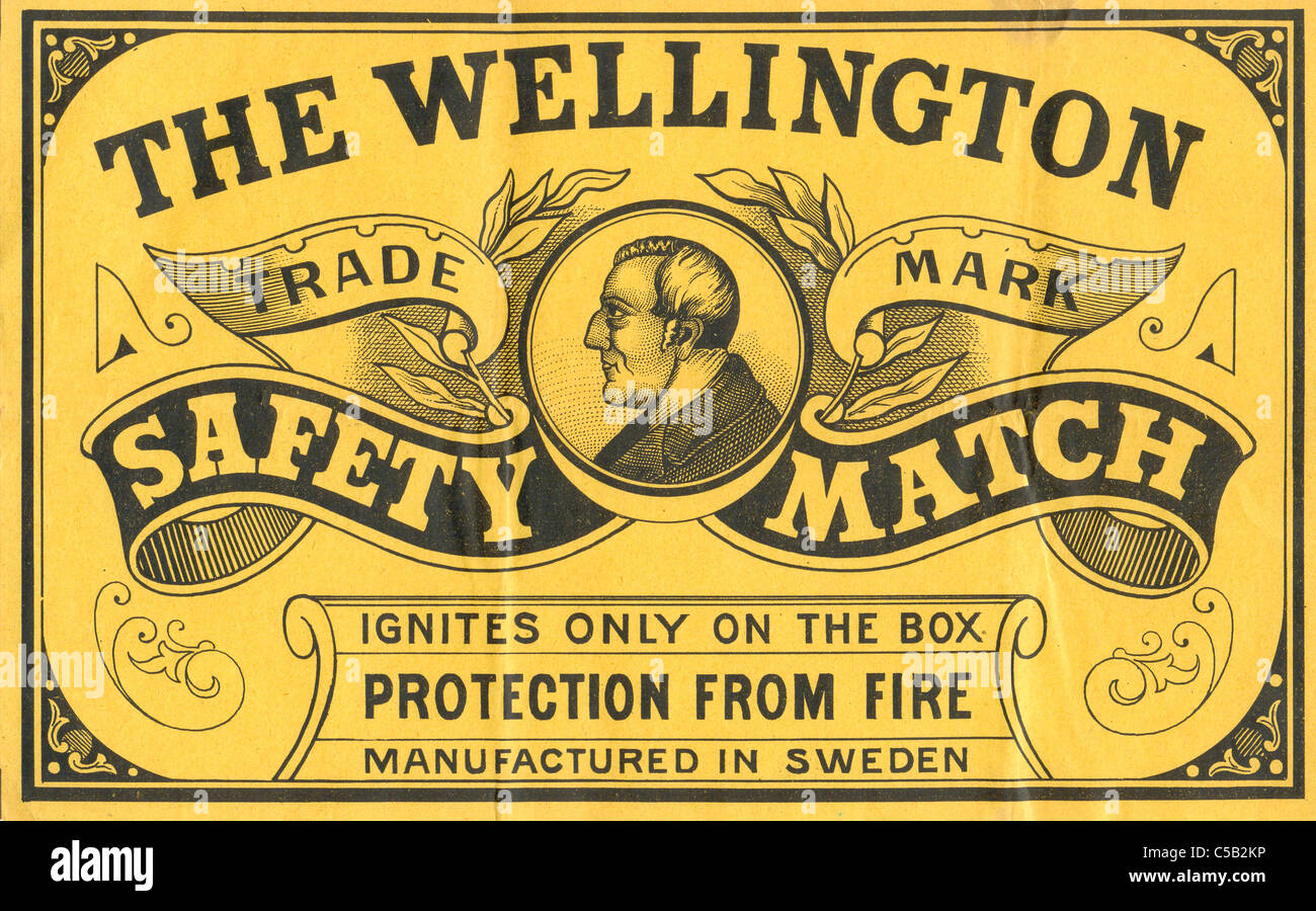 label for The Wellington Safety Match - Stock Image