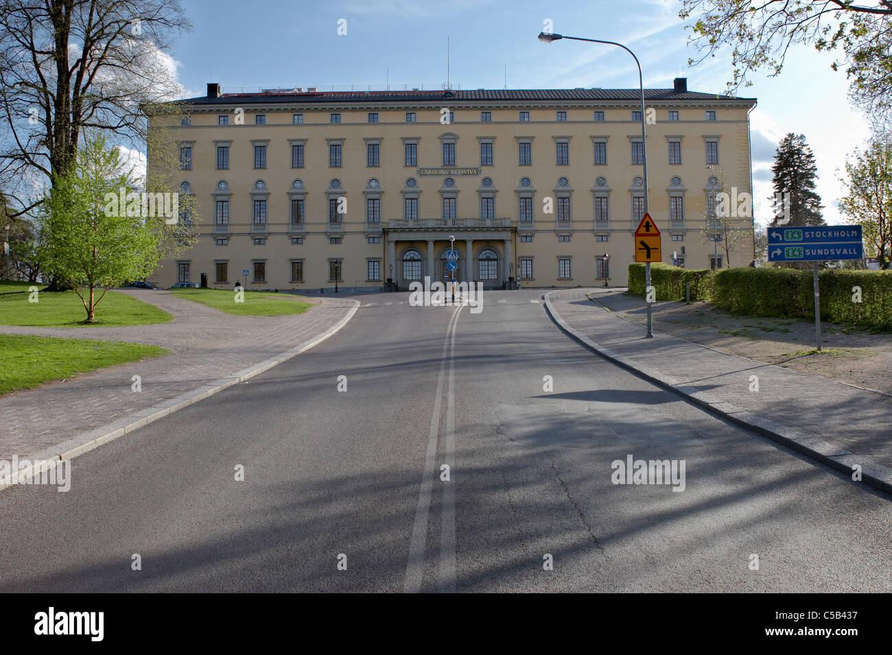 Empty road leading to Carolina Rediviva at Uppsala, Sweden Stock Photo