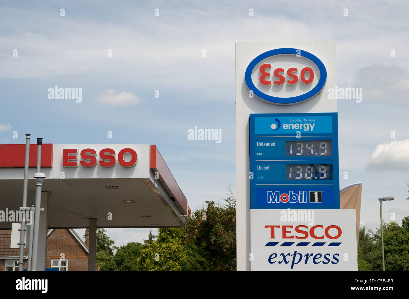 Esso petrol station pricing board 2011 - Stock Image