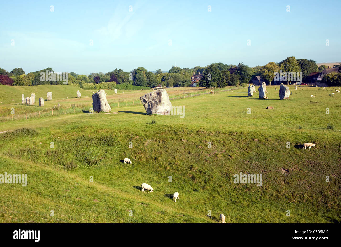 Standing stones of the henge at Avebury, Wiltshire, England - Stock Image