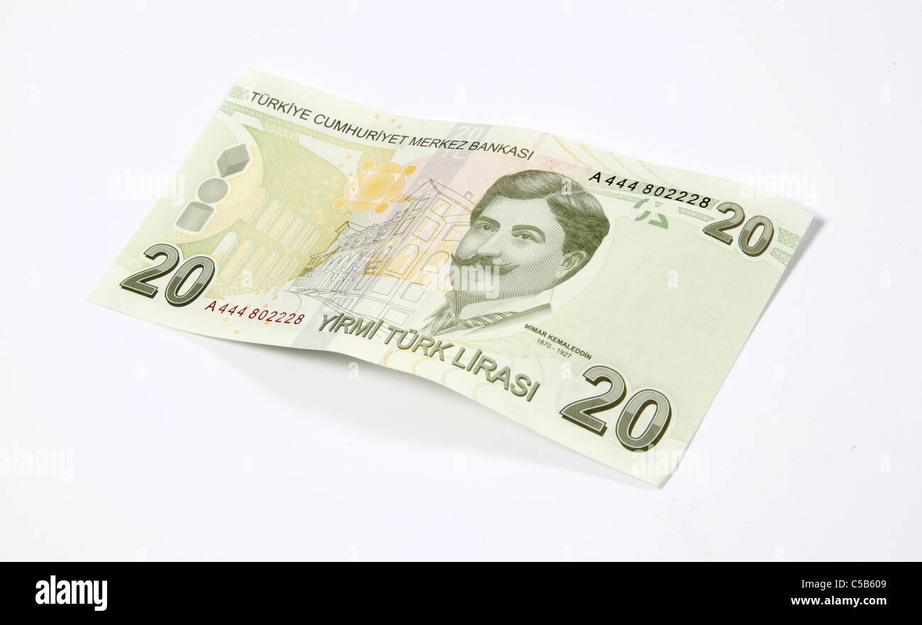 Twenty Turkish Lira note -cut out on white Stock Photo