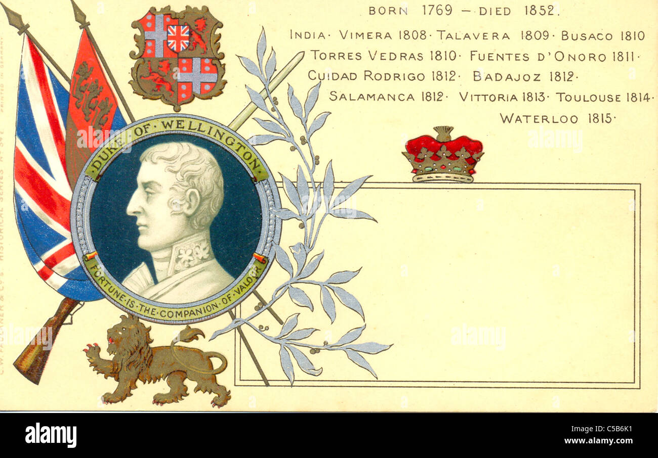 picture postcard of the Duke of Wellington - Stock Image