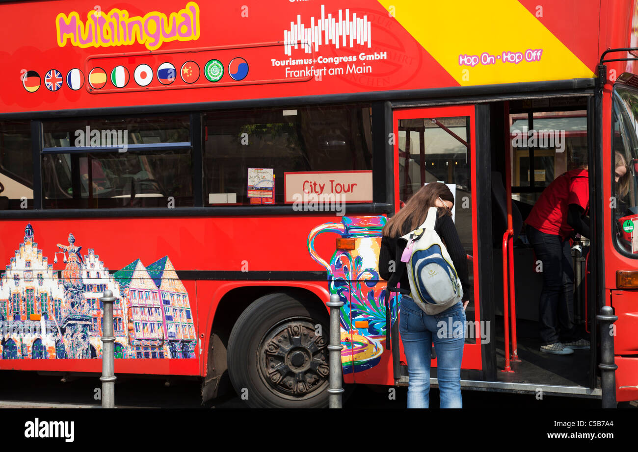Sightseeing Bus Frankfurt - Stock Image