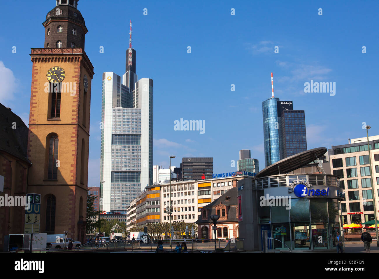 Frankfurt modern architecture shopping centre office buildings church - Stock Image