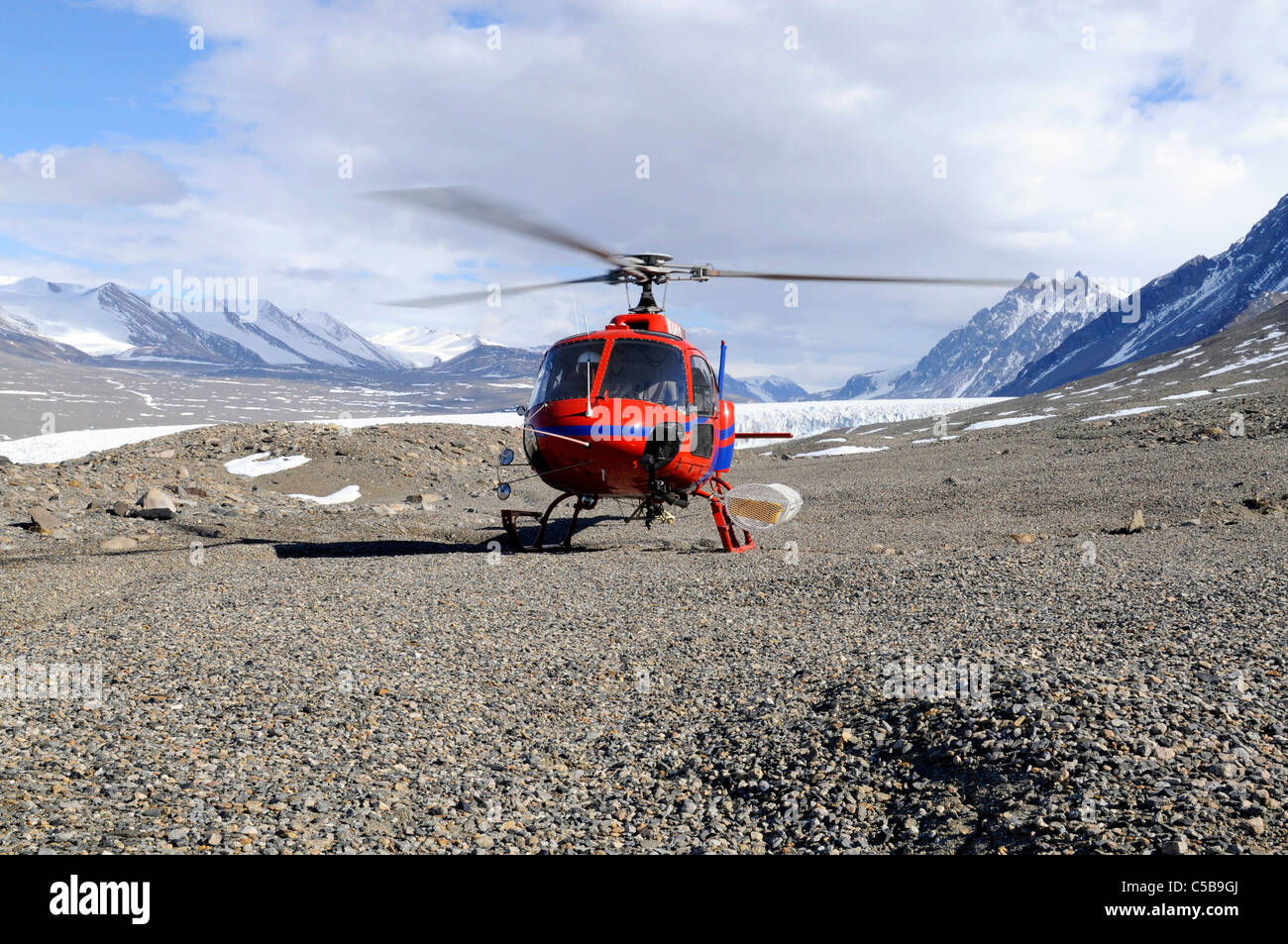 Helicopter in support of science in Taylor Valley McMurdo Dry Valleys Antarctica Stock Photo