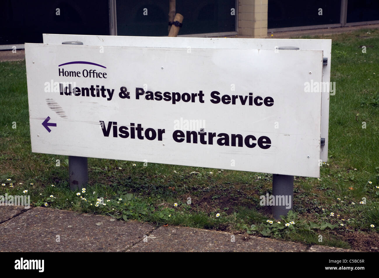 Home Office Identity and passport service visitor entrance sign, Norwich, England - Stock Image