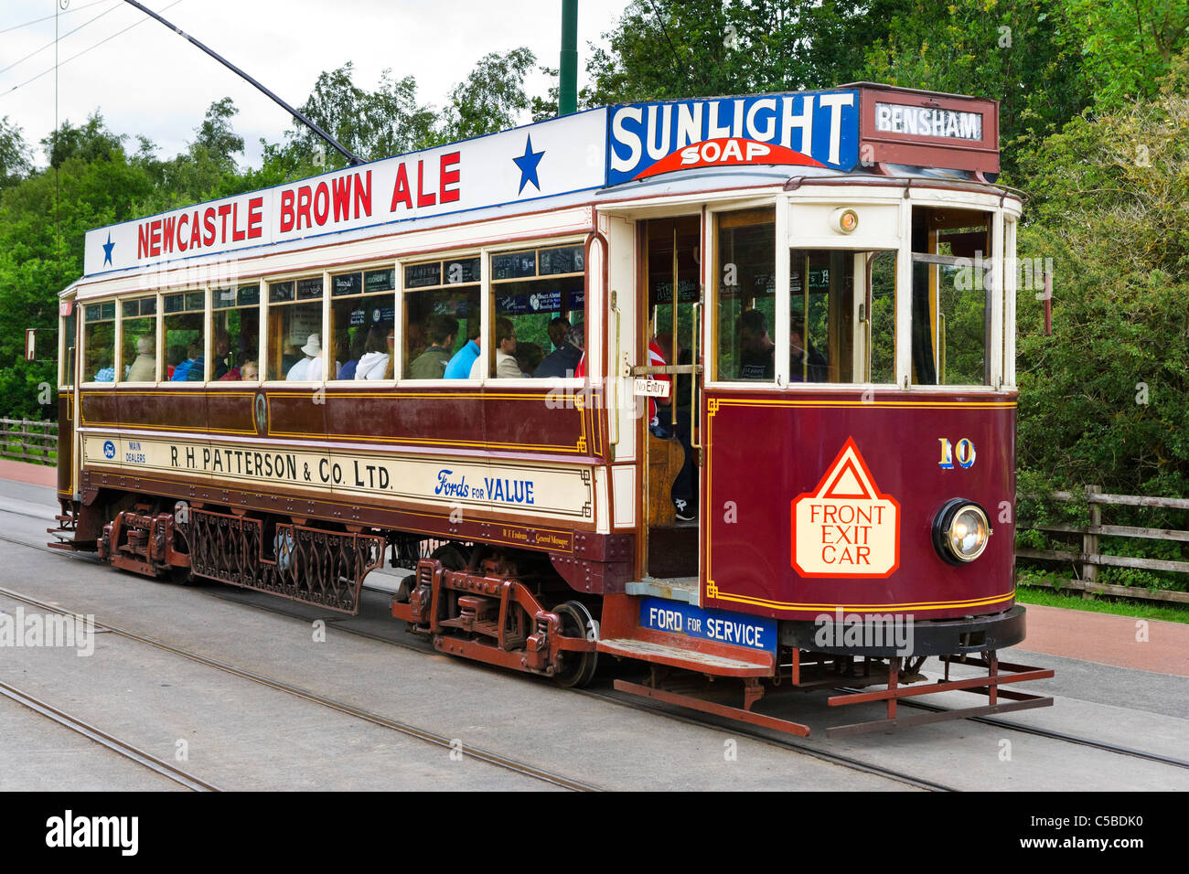 Old tram at Beamish Open Air Museum, County Durham, North East England, UK - Stock Image