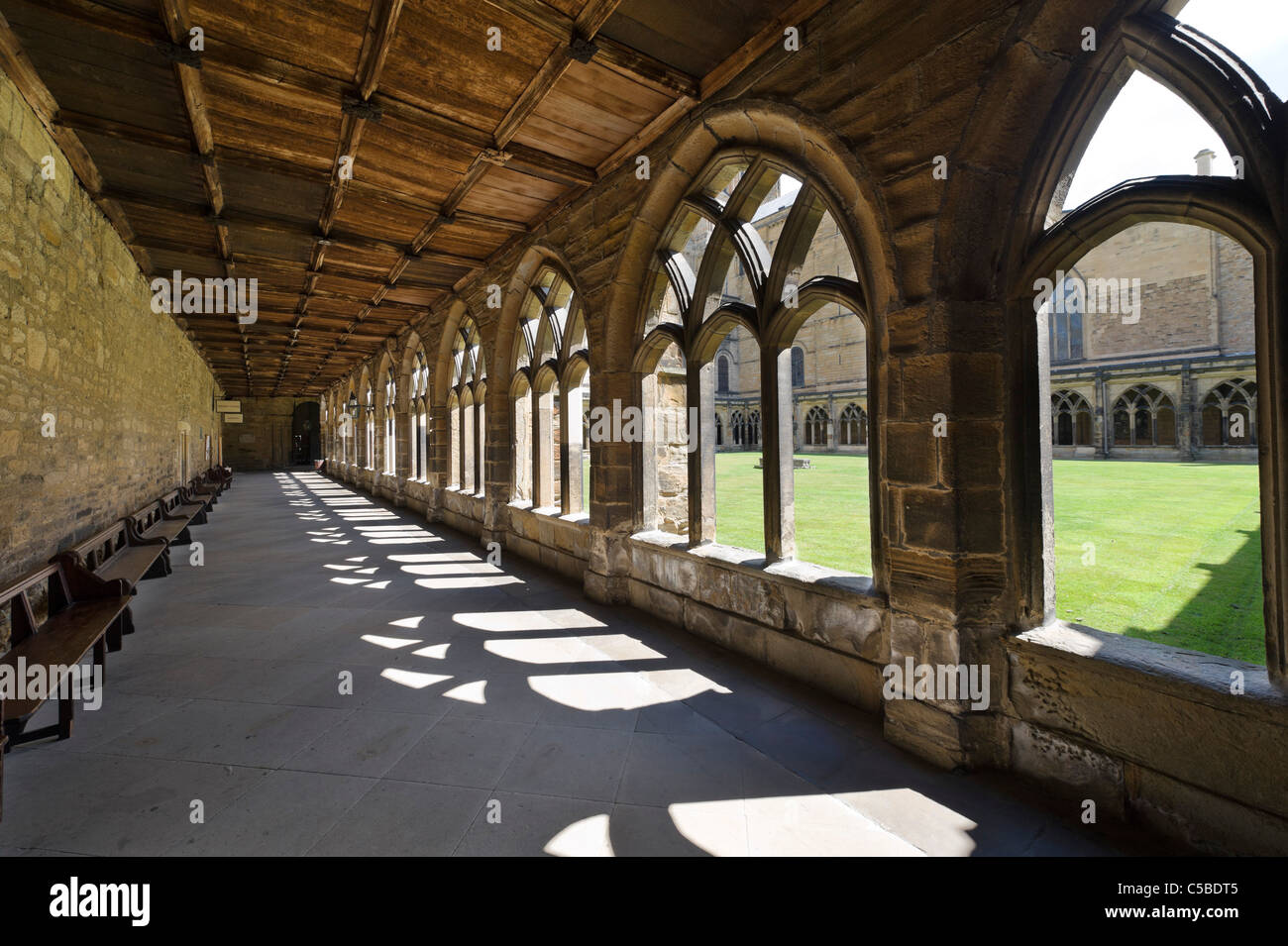 Cloister in Durham Cathedral, County Durham, North East England, UK - Stock Image