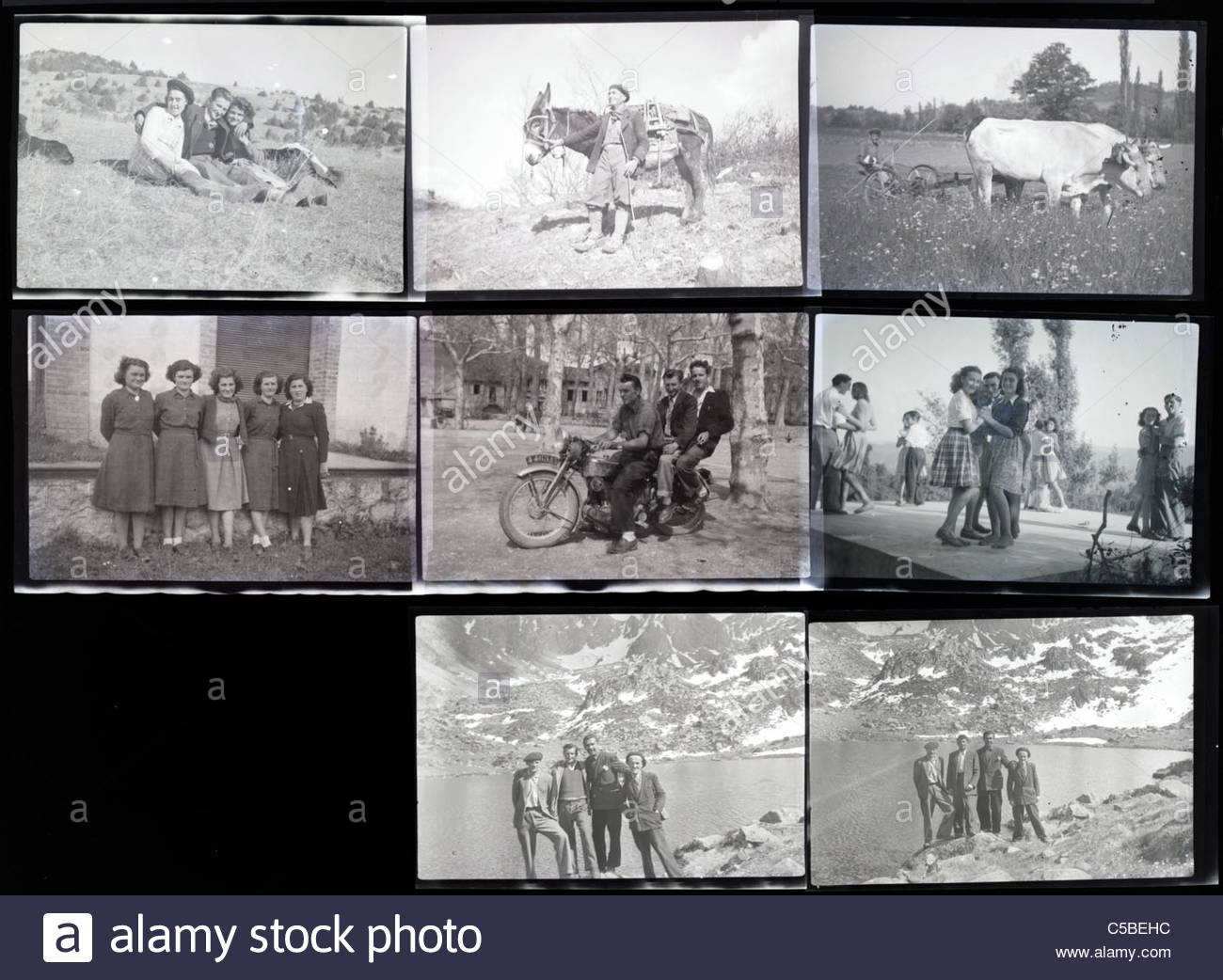 contact sheet with family and vacation photos from the 1950s 1960s South France Languedoc Stock Photo