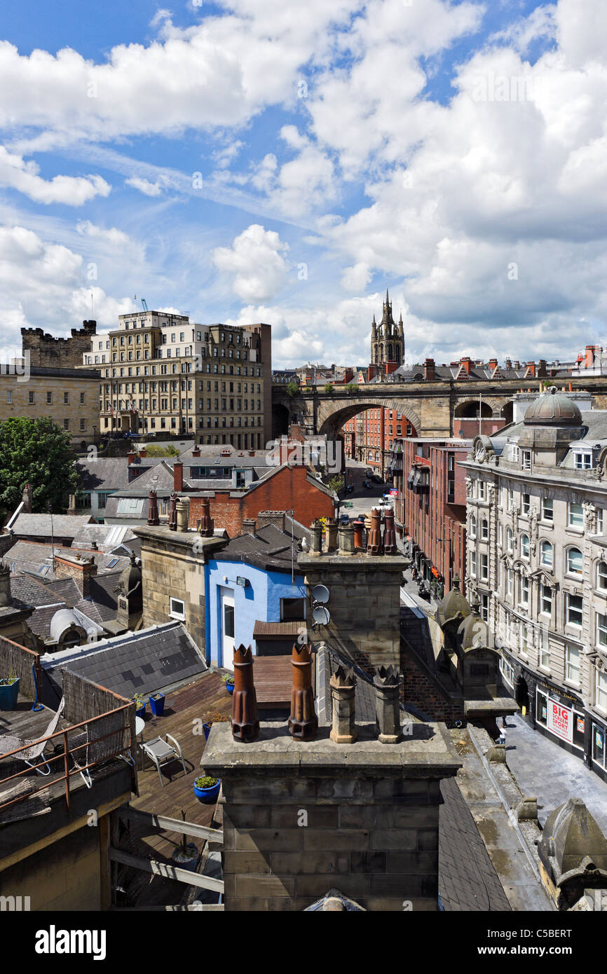 The rooftops of the city from the Tyne Bridge looking towards the Cathedral, Newcastle upon Tyne, Tyne and Wear, - Stock Image