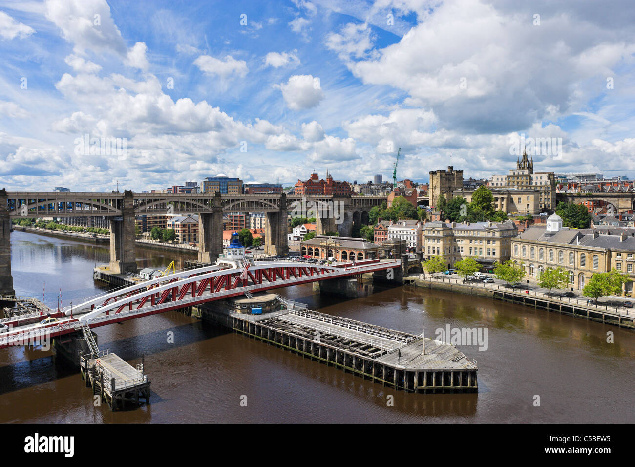 View towards city centre from Tyne Bridge with Swing Bridge & High Level Bridge in foreground, Newcastle upon - Stock Image