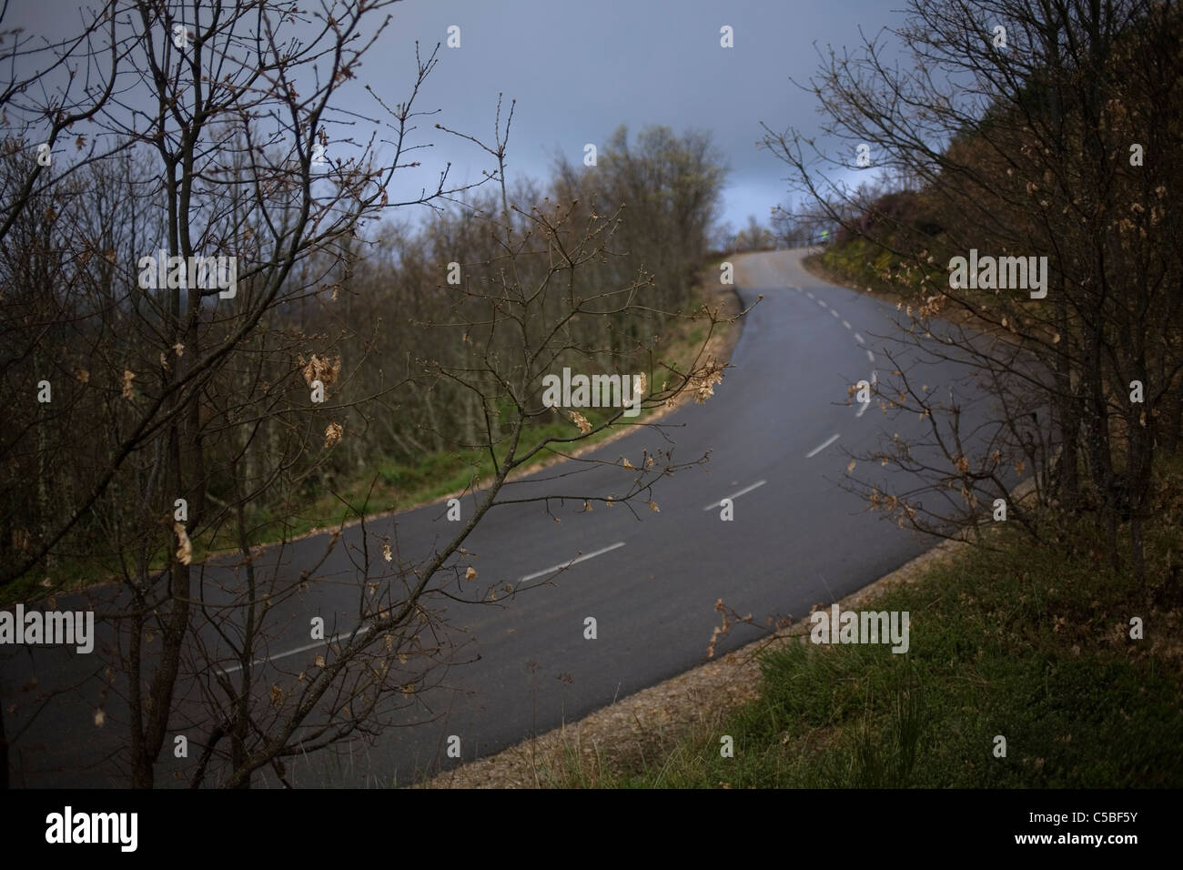 A road of the French Way of St. James' Way in the French Way of St. James' Way in Maragateria region, Castilla - Stock Image
