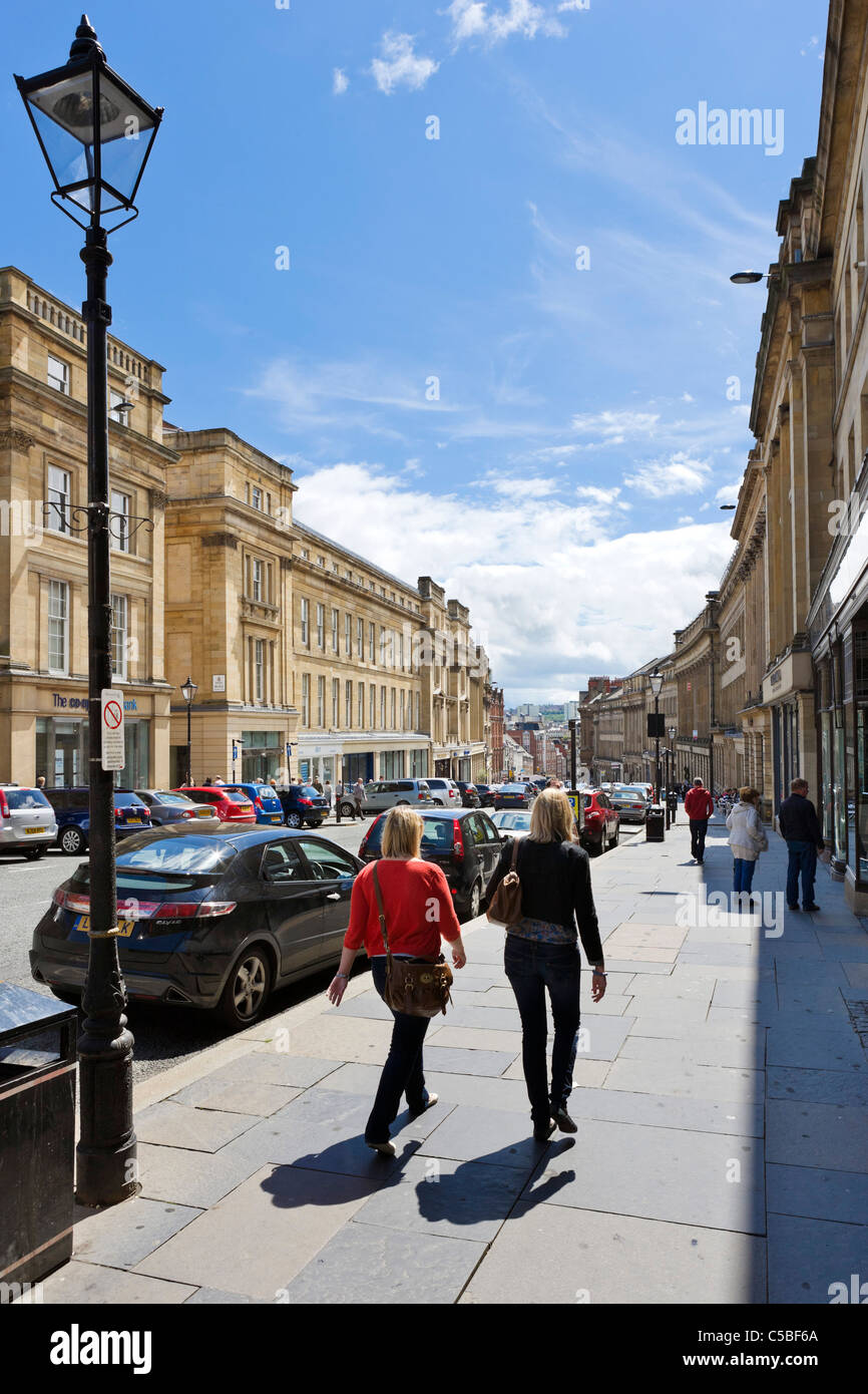 Historic Georgian buildings on Grey Street in the city centre, Grainger Town, Newcastle upon Tyne, Tyne and Wear, - Stock Image