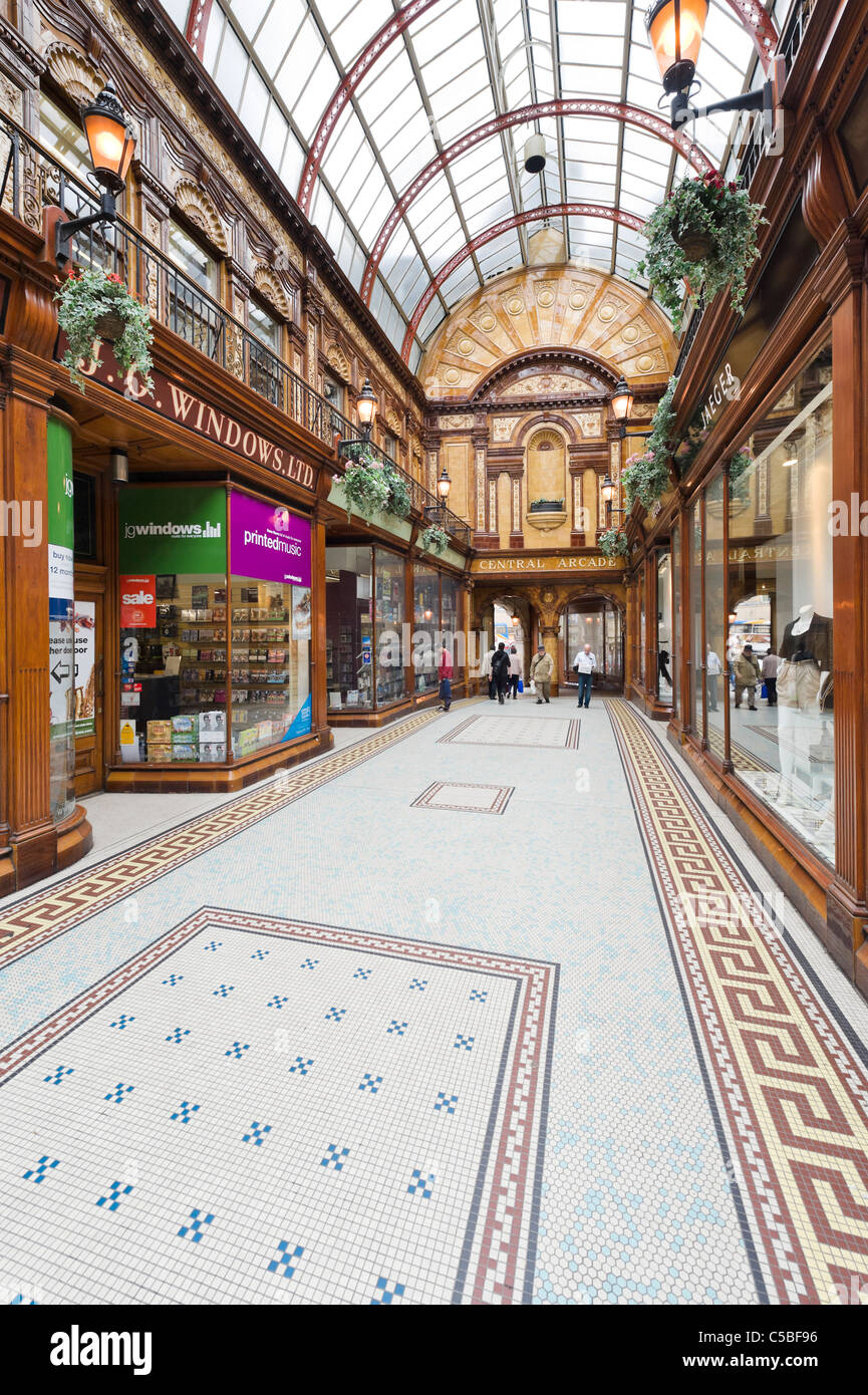 Shops in the Central Arcade off Grainger Street in the city centre, Grainger Town, Newcastle upon Tyne, Tyne and Stock Photo