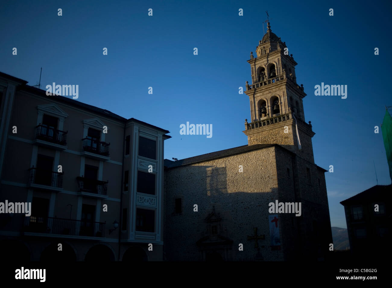 The bell tower of the Cathedral of Ponferrada, in the French Way of St. James Way, El Bierzo, Castilla y Leon, Spain. - Stock Image