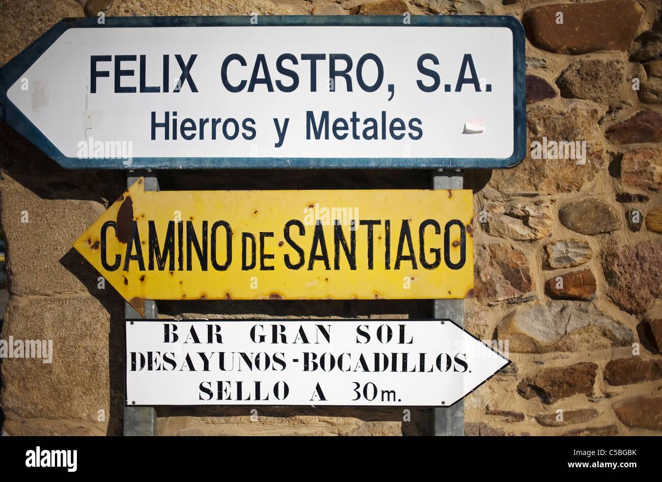 A direction sign reading Camino de Santiago in the French Way of St. James Way, El Bierzo region, Castilla y Leon, - Stock Image