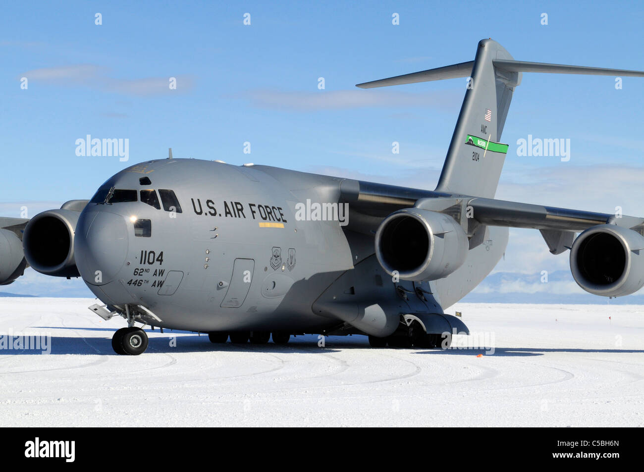 C17 plane supporting US Antarctic Program at Pegasus Airfield McMurdo Station Antarctica - Stock Image