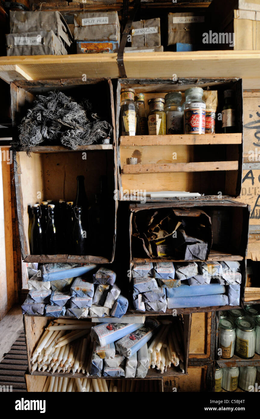 Historic artifact stores and supplies at Shackleton's Hut Cape Royds Antarctica - Stock Image