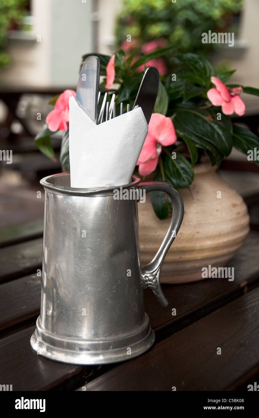 Cutlery in a British pub - Stock Image