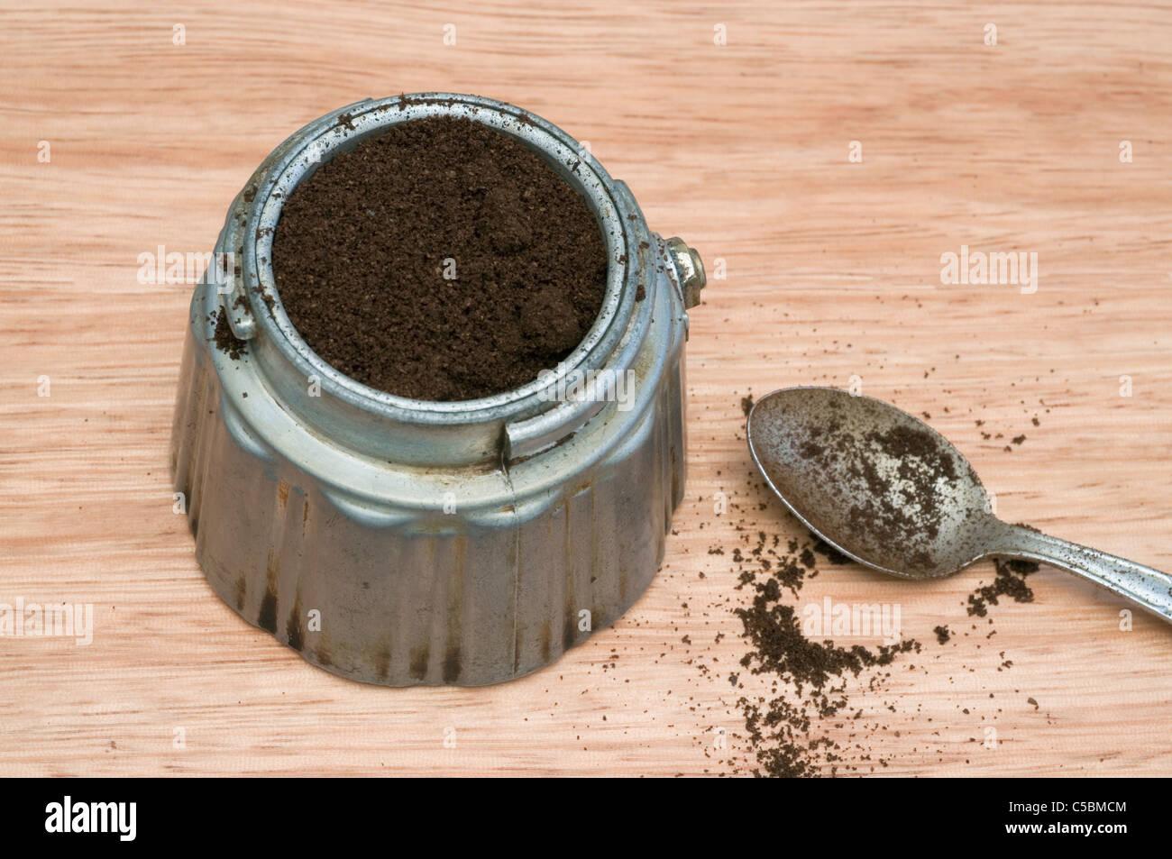 opened coffee moka pot and spoon - Stock Image