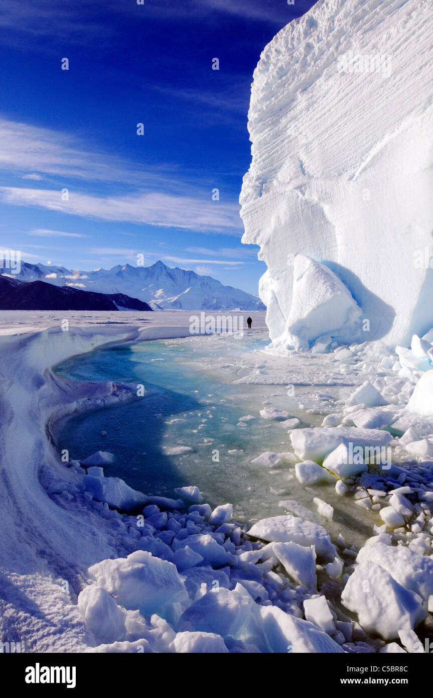 Mount Herschel with large ice berg from near Cape Hallett northern Ross Sea Antarctica - Stock Image